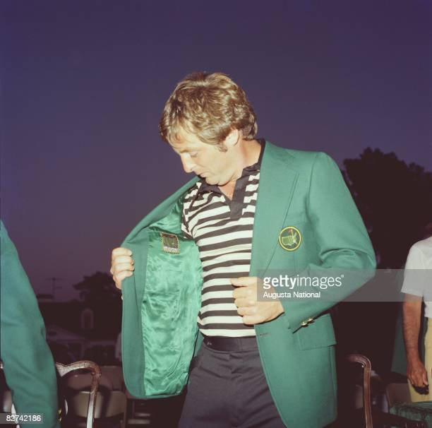 Fuzzy Zoeller checks out his green jacket after the 1979 Masters Tournament at Augusta National Golf Club on April 15 1979 in Augusta Georgia