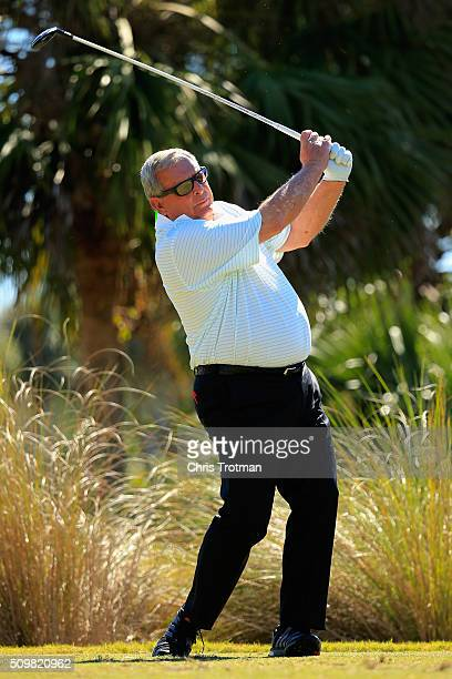 Fuzzy Zoeller hits a tee shot on the second hole during the first round of the 2016 Chubb Classic at the TwinEagles Club on February 12 2016 in...