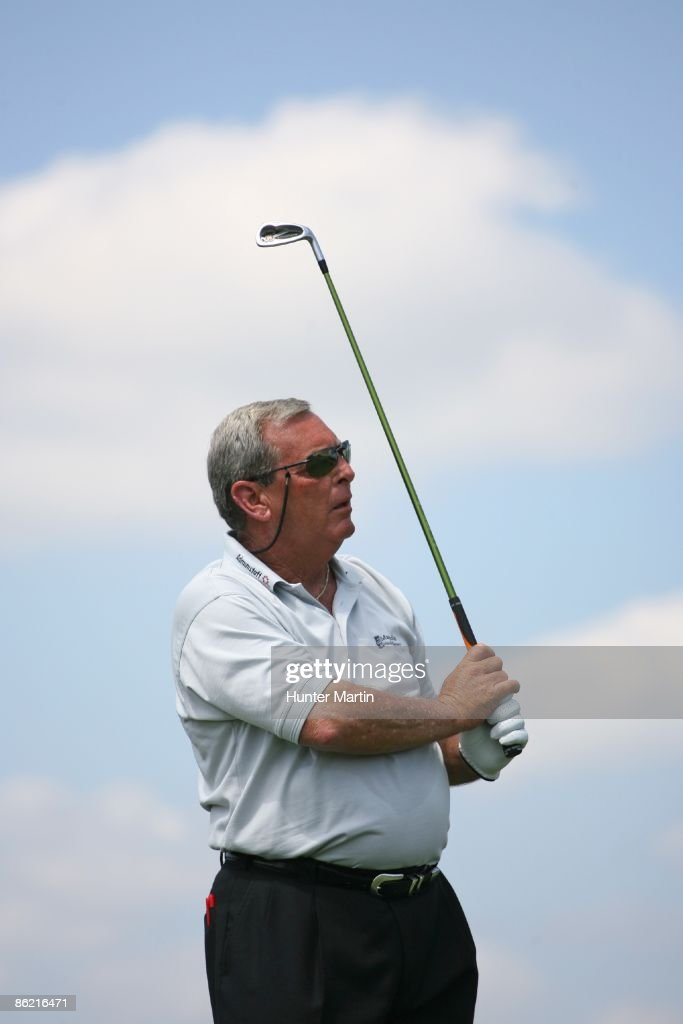 Fuzzy Zoeller hits his tee shot on the 8th hole during the second round of the Liberty Mutual Legends of Golf at the Westin Savannah Harbor Golf...