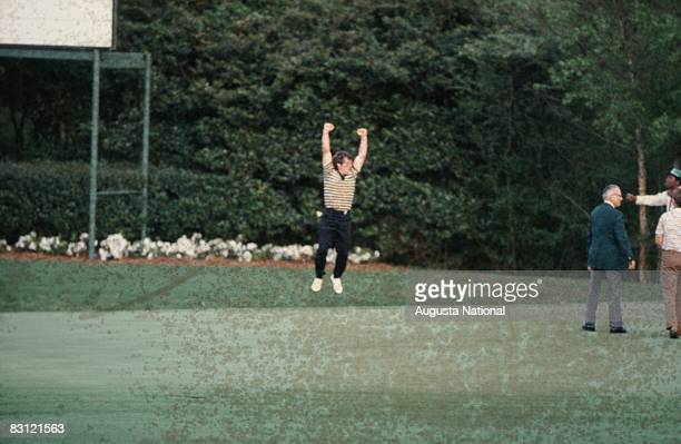 Fuzzy Zoeller leaps in triumph after winning playoff with Ed Sneed and Tom Watson during the 1979 Masters Tournament at Augusta National Golf Club on...