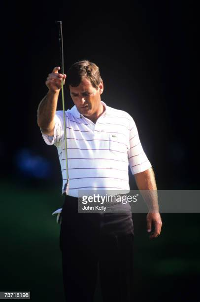 Fuzzy Zoeller lines up his putt on his way to his 1984 US Open Championship at the Winged Foot Golf Club