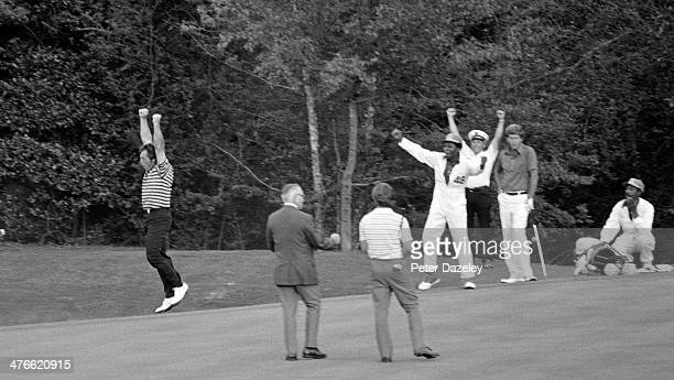 Fuzzy Zoeller of the USA holes a bridie putt on the 11th green the scond playoff hole where he defeated Tom Watson of the USA and Ed Sneed of the USA...