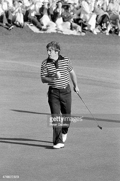 Fuzzy Zoeller of the USA holes a crucial putt on the final green during the 43rd Masters Tournament at Augusta National Golf Club on April 15 1979 in...