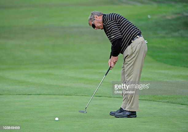 Fuzzy Zoeller putts on the 6th green during the second round of the Home Care Hospice First Tee Open at Pebble Beach at Pebble Beach Golf Links on...