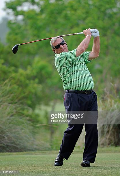Fuzzy Zoeller tees off on the 4th hole during the first round of the Legends Division at the Liberty Mutual Legends of Golf at The Westin Savannah...