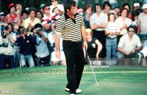 Fuzzy Zoeller watches his putt during the 1979 Masters Tournament at Augusta National Golf Club in April 1979 in Augusta Georgia