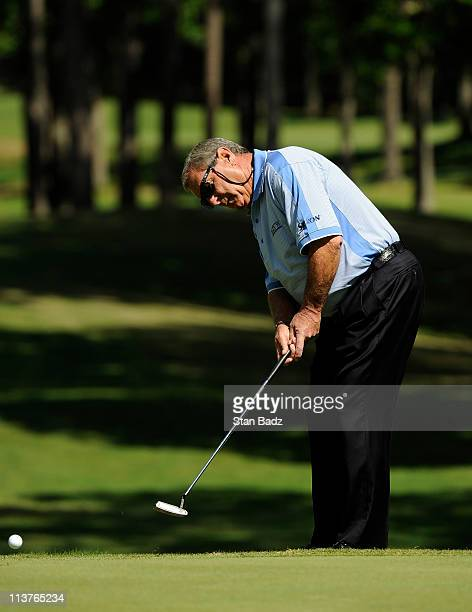 Fuzzy Zoeller watches his putt on the second green during the first round of the Regions Tradition at Shoal Creek on May 5 2011 in Birmingham Alabama