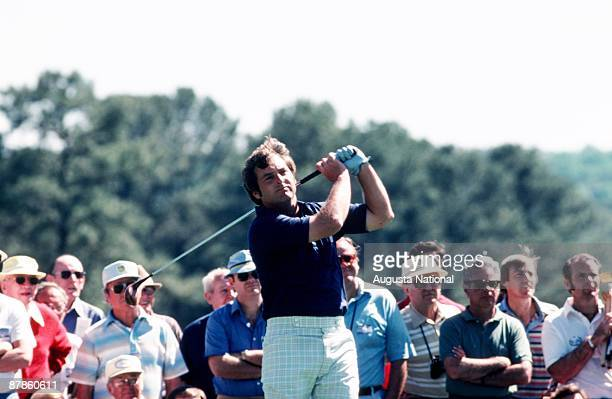 Fuzzy Zoeller watches his shot during the 1979 Masters Tournament at Augusta National Golf Club on April 1979 in Augusta Georgia