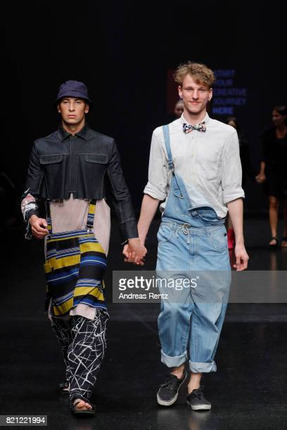 Fynn Rademacher acknowledges the audience after his show 'Untitled' at the AMD Exit17_2 show during Platform Fashion July 2017 at Areal Boehler on...