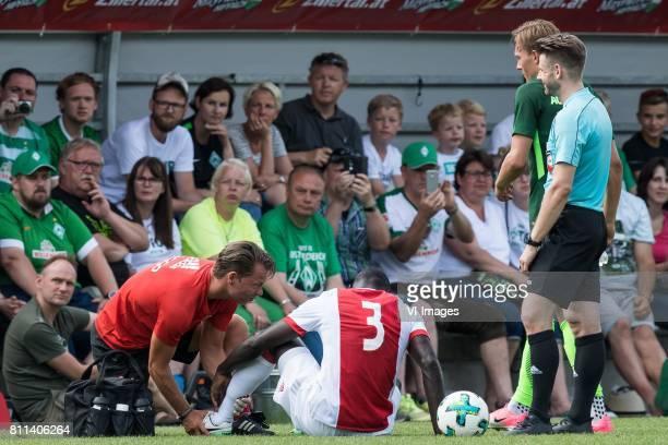 fysiotherapist Ronald Vermeer of Ajax Davinson Sanchez of Ajax during the friendly match between Ajax Amsterdam and SV Werder Bremen at Lindenstadion...