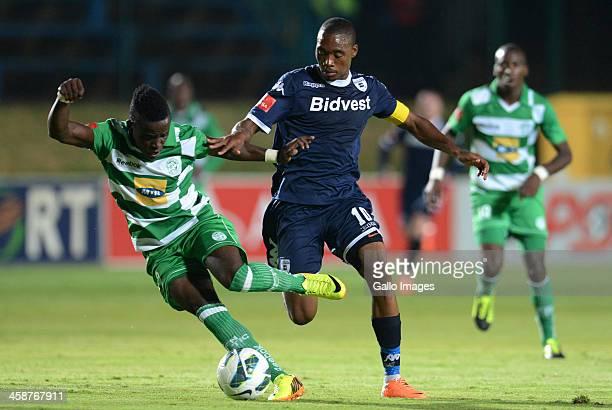 Gabadinho Mhango of Celtic and Sibusiso Vilakazi of Wits during the Absa Premiership match between Bidvest Wits and Bloemfontein Celtic at Bidvest...