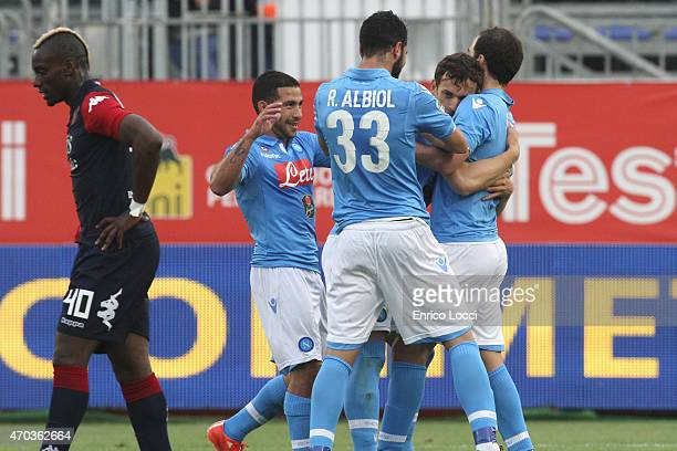 Gabbiadini Manolo of Napoli celebrates with the teammates the goal 03 during the Serie A match between at Stadio Sant'Elia on April 19 2015 in...