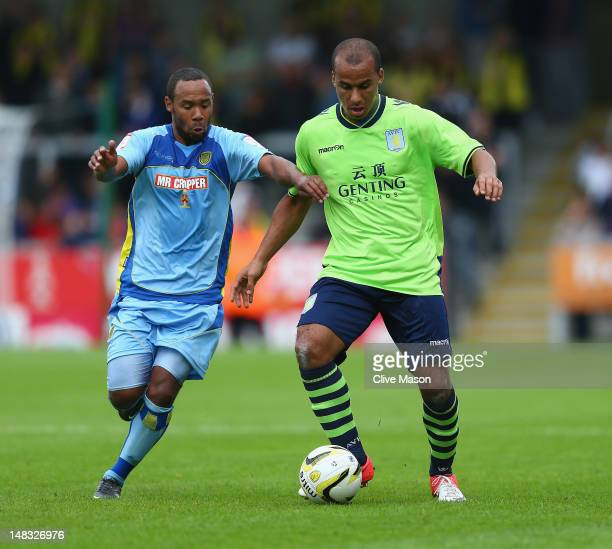 Gabby Agbonlahor of Aston Villa in action during the pre season friendly match between Burton Albion and Aston Villa at the Pirelli Stadium on July...