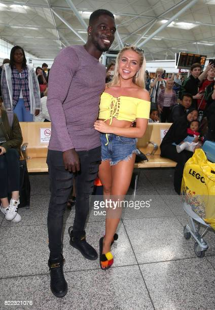 Gabby Allen and Marcel Somerville from Love Island arrive at Stanstead airport on July 25 2017 in London England