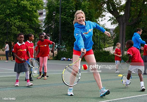 Gabby and Kenny Logan launch National Mini Tennis Week at Southark City Tennis Centre on May 31 2012 in Camberwell England National Mini Tennis week...