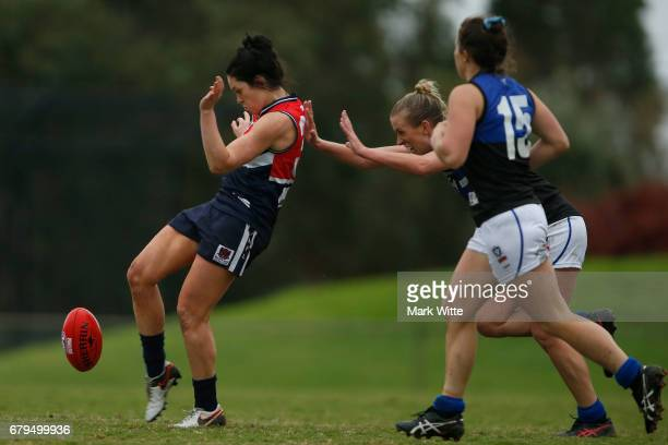 Gabby Colvin of Darebin Falcons kicks the ball during the round one VFL Women's match between the Darebin Falcons and Melbourne Uni at Bill Lawry on...