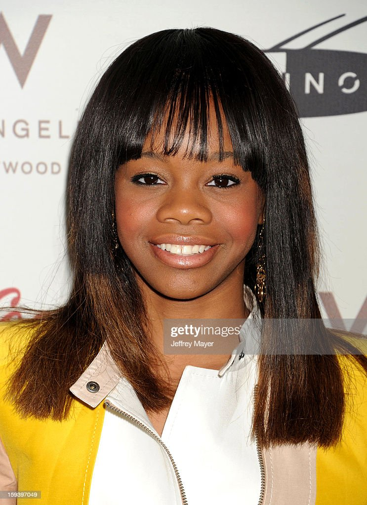 Gabby Douglas arrives at CW3PR Presents the inaugural 'Gold Meets Golden' event at New Equinox Flagship on January 12, 2013 in Los Angeles, California.
