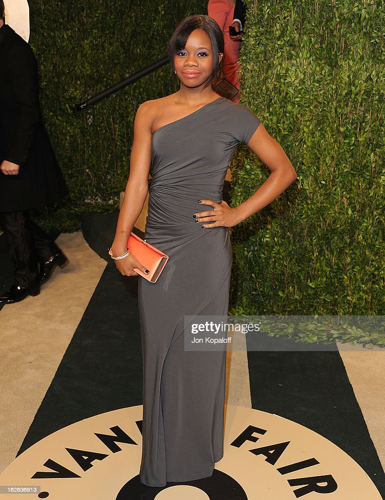 Gabby Douglas attends the 2013 Vanity Fair Oscar party at Sunset Tower on February 24, 2013 in West Hollywood, California.