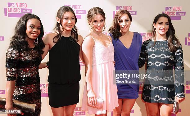 Gabby Douglas Kyla Ross McKayla Maroney Jordyn Wiber and Alexandra Raisman arrive arrive at the 2012 MTV Video Music Awards at Staples Center on...