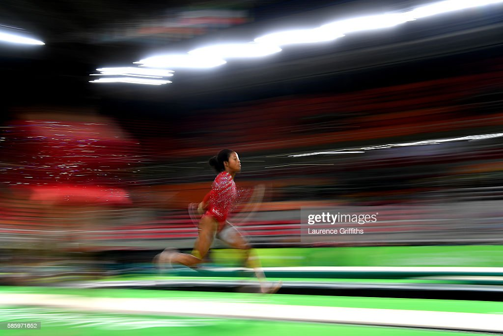 Gabby Douglas of the United States practices a vault during an artistic gymnastics training session on August 4, 2016 at the Arena Olimpica do Rio in Rio de Janeiro, Brazil.