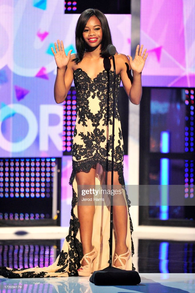 <a gi-track='captionPersonalityLinkClicked' href=/galleries/search?phrase=Gabby+Douglas&family=editorial&specificpeople=8465211 ng-click='$event.stopPropagation()'>Gabby Douglas</a> on stage during the 2013 BET Awards at Nokia Plaza L.A. LIVE on June 30, 2013 in Los Angeles, California.