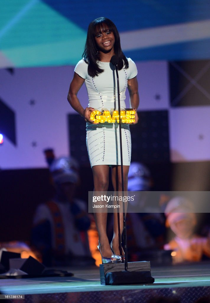 Gabby Douglas speaks onstage at the Third Annual Hall of Game Awards hosted by Cartoon Network at Barker Hangar on February 9, 2013 in Santa Monica, California. 23270_003_JK_0354.JPG