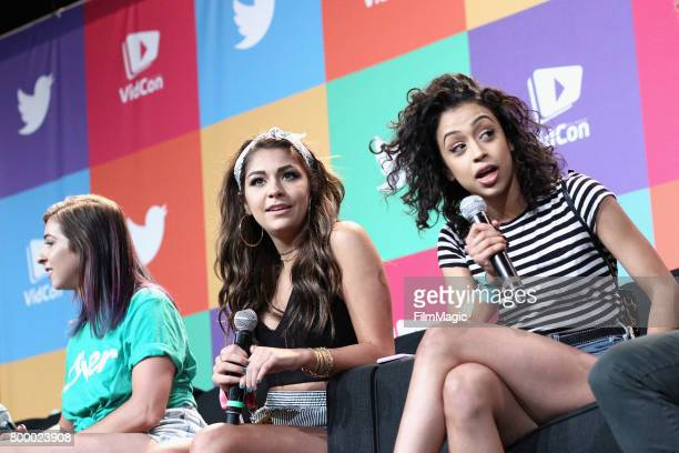 Gabby Hannah Angela Russett and Liza Koshy appear at Escape the Night 2 panel and premiere at VidCon at Anaheim Convention Center on June 22 2017 in...