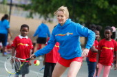 Gabby Logan launches National Mini Tennis Week at Southark City Tennis Centre on May 31 2012 in Camberwell England National Mini Tennis week runs...