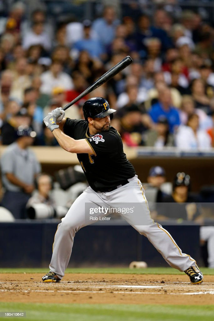 Gabby Sanchez of the Pittsburgh Pirates bats during the game against the San Diego Padres at Petco Park on August 20 2013 in San Diego California The...