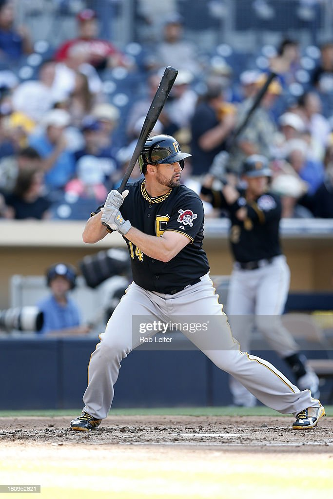 Gabby Sanchez of the Pittsburgh Pirates bats during the game against the San Diego Padres at Petco Park on August 21 2013 in San Diego California The...