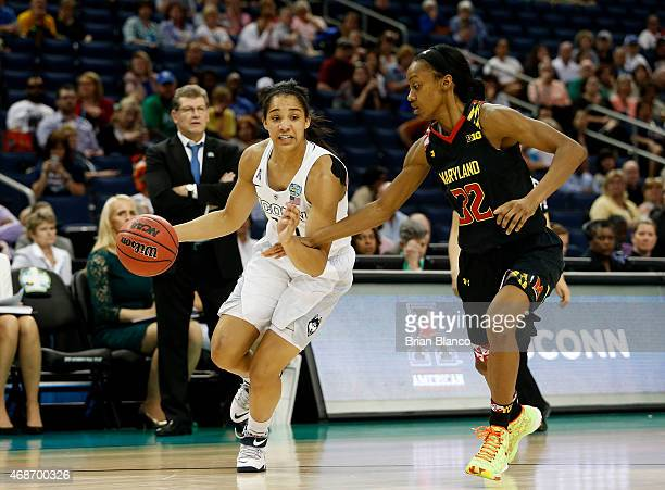 Gabby Williams of the Connecticut Huskies drives against Shatori WalkerKimbrough of the Maryland Terrapins in the second half during the NCAA Women's...
