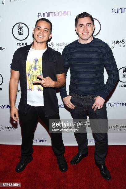 Gabe Burriel and Adrian Gomez attend Funimation Films presents 'Your Name' Theatrical Premiere in Los Angeles CA at Yamashiro Hollywood on March 23...