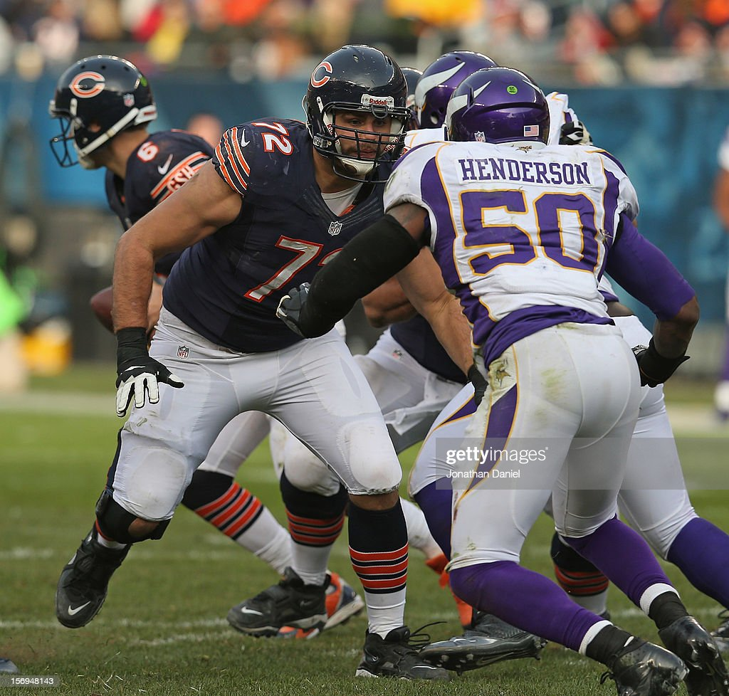Gabe Carimi #72 of the Chicago Bears moves to block Erin Henderson #50 of the Minnesota Vikings at Soldier Field on November 25, 2012 in Chicago, Illinois. The Bears defeated the Vikings 28-10.