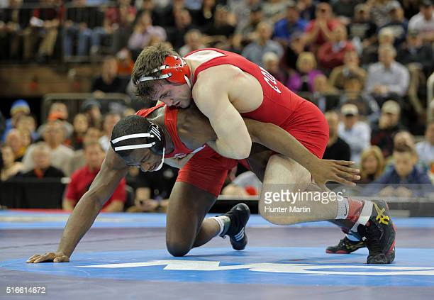 Gabe Dean of the Cornell Big Red wrestles Timothy Dudley of the Nebraska Cornhuskers during the finals of the NCAA Wrestling Championships on March...