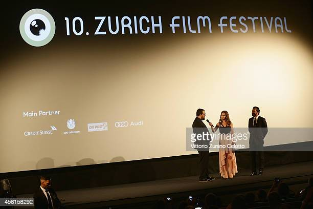 Gabe Ibanez and Antonio Banderas attend the 'Automata' Green Carpet Arrivals during Day 2 of Zurich Film Festival 2014 on September 26 2014 in Zurich...