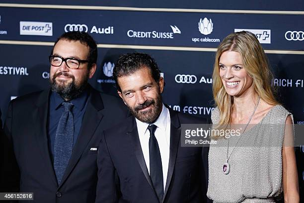 Gabe Ibanez Antonio Banderas and Nadja Schildknecht attend the 'Automata' Green Carpet Arrivals during Day 2 of Zurich Film Festival 2014 on...