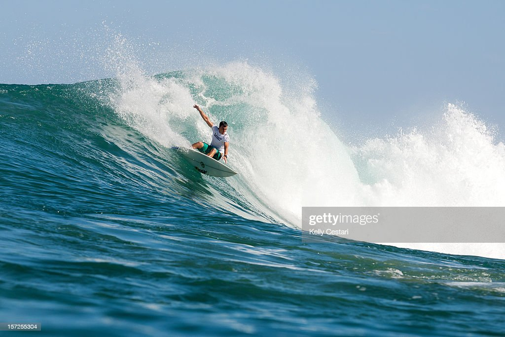 Gabe Kling of the United States advanced into Round 3 of the VANS World Cup of Surfing by winning his Round 2 heat at Sunset Beach on November 30, 2012 in North Shore, Hawaii.