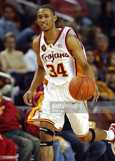 Gabe Pruitt dribbles upcourt during 5849 victory over Arizona State in Pacific10 Conference basketball game at the Galen Center in Los Angeles Calif...