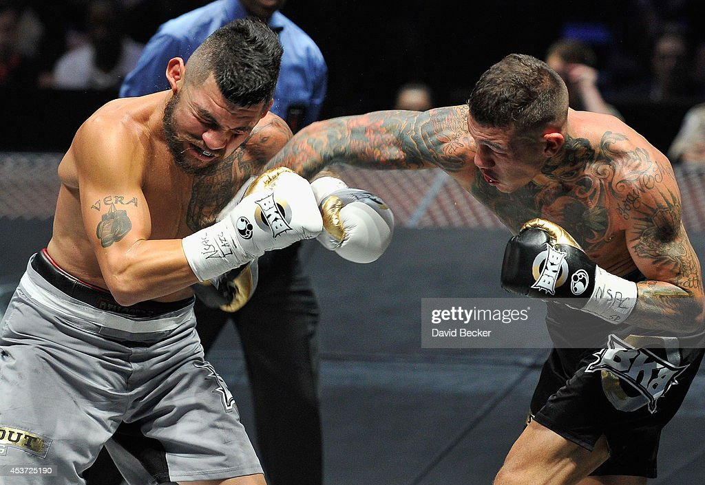 Gabe Rosado (R) throws a right to the face of Bryan Vera during their middleweight championship fight at the inaugural event for BKB, Big Knockout Boxing, at the Mandalay Bay Events Center on August 16, 2014 in Las Vegas, Nevada. Rosado won by sixth-round TKO.