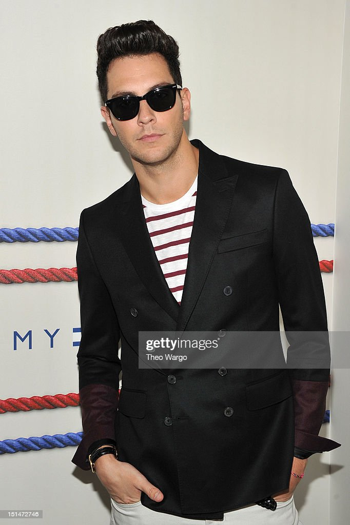 <a gi-track='captionPersonalityLinkClicked' href=/galleries/search?phrase=Gabe+Saporta&family=editorial&specificpeople=4214209 ng-click='$event.stopPropagation()'>Gabe Saporta</a> poses backstage at the Tommy Hilfiger Men's Spring 2013 fashion show during Mercedes-Benz Fashion Week at Maritime Hotel on September 7, 2012 in New York City.