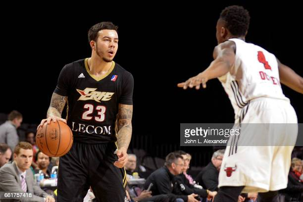 Gabe York of the Erie BayHawks dribbles the ball against the Windy City Bulls on March 28 2017 at the Sears Centre Arena in Hoffman Estates Illinois...