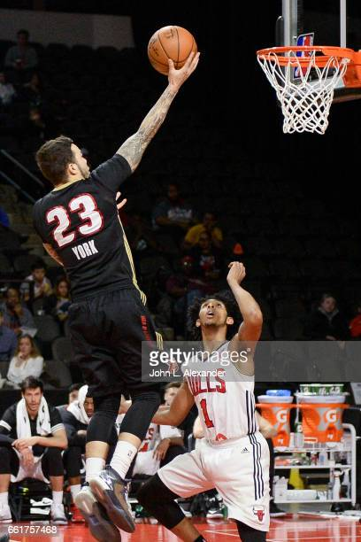 Gabe York of the Erie BayHawks drives to the basket against the Windy City Bulls on March 28 2017 at the Sears Centre Arena in Hoffman Estates...