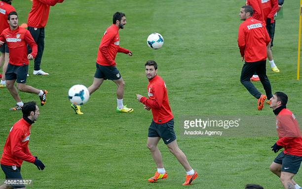 Gabi Fernandez Arenas of Atletico Madrid exercises during a training session in Majadahonda near Madrid on April 26 2014 ahead of the Spanish La Liga...
