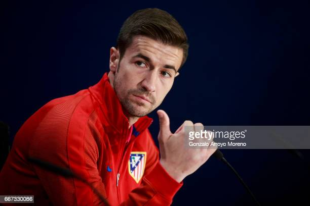 Gabi Fernandez of Atletico de Madrid attends a press conference ahead of the UEFA Champions League Quarter Final First leg match between Club...