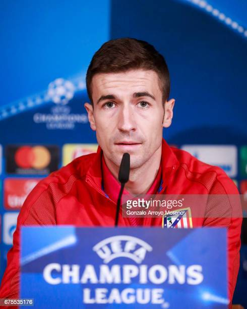 Gabi Fernandez of Atletico de Madrid attends a press conference ahead the UEFA Champions League Semifinal First leg match between Real Madrid CF and...