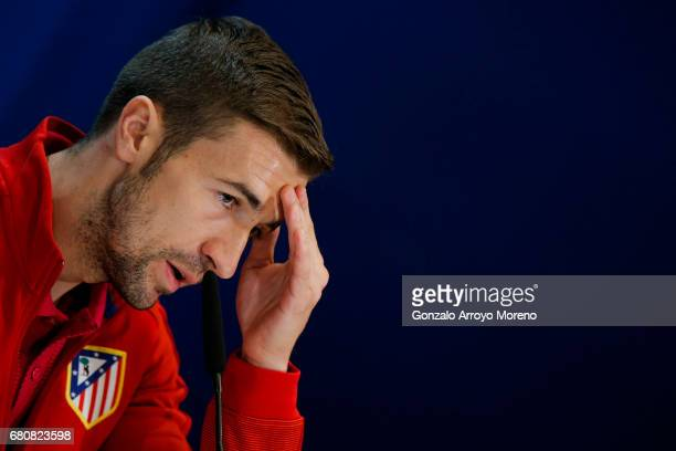 Gabi Fernandez of Atletico de Madrid attends a press conference ahead of the UEFA Champions League Semifinal Second leg match between Club Atletico...