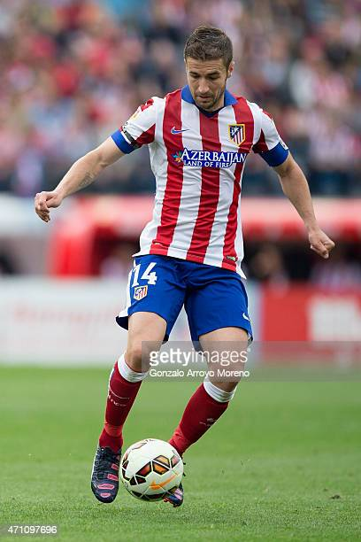 Gabi Fernandez of Atletico de Madrid controls the ball during the La Liga match between Club Atletico de Madrid and Elche FC at Vicente Calderon...