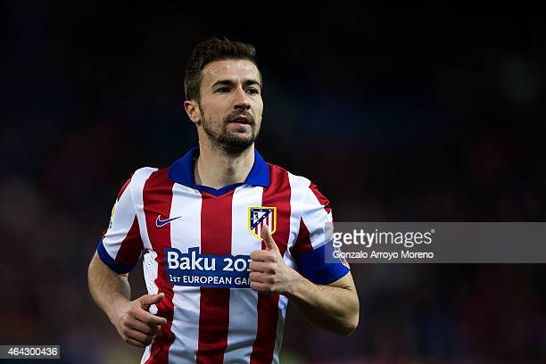 Gabi Fernandez of Atletico de Madrid in action during the La Liga match between Club Atletico de Madrid and UD Almeria at Vicente Calderon Stadium on...