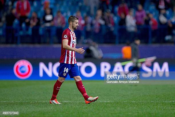 Gabi Fernandez of Atletico de Madrid leaves the pitch ahead the UEFA No to Racism claim displayed on a screen after the UEFA Champions League Group C...