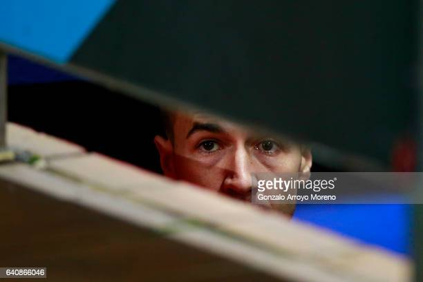 Gabi Fernandez of Atletico de Madrid looks from the tunnel entrance prior to start the Copa del Rey semifinal first leg match between Club Atletico...